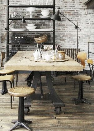 industrial wood and metal and exposed bricks