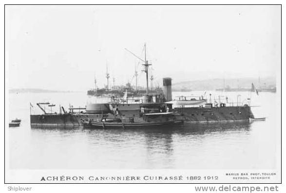 """Le """"Acheron"""" (1885). 1690t coast defence ship. Armed with 1-10.8in/29 M1881, 2-3.9in/26 QF M1881. 8in armoured belt and turret."""