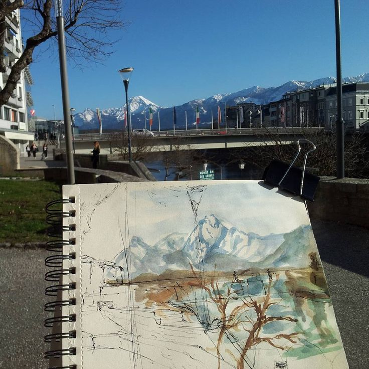 #drawing #sketchbook #landscape #backpacking #interrail #travel #watercolor #villach #beautifulmountains #snowandsun