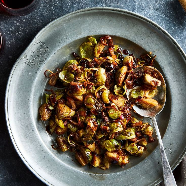 Roasted Brussels Sprouts With Bacon & Balsamic-Cranberry Glaze  recipe on Food52   – Recipe File