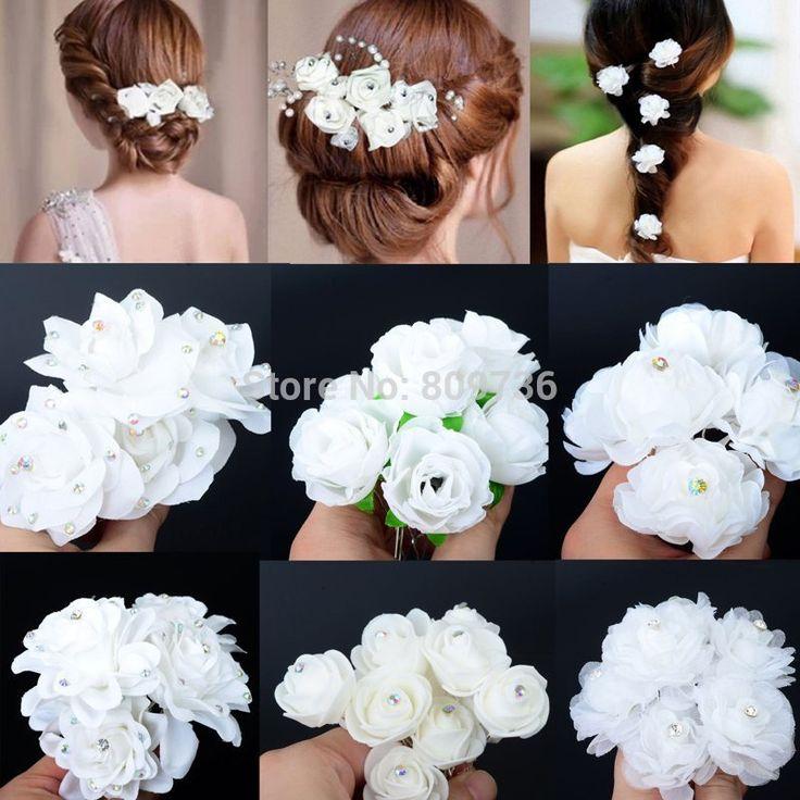 5 PCS pernikahan jepit rambut pengantin, Mawar putih bunga kristal berlian imitasi rambut pin, Kecantikan rambut klip, Wanita perhiasan aksesori, Kapal gratis