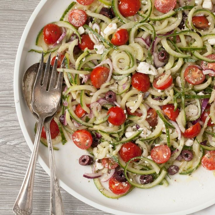 Save time and spiralize crisp cucumber instead of chopping it for this easy, healthy vegetable side. Want to make it a meal? Just add grilled chicken, shrimp or canned chickpeas.