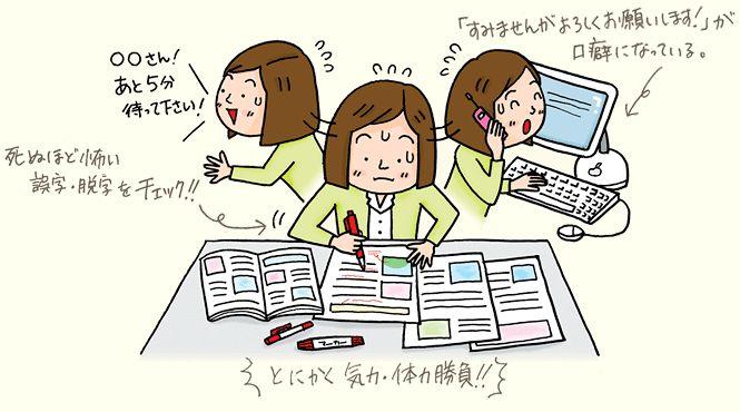 雑誌・書籍編集者のシゴトって?  書店に並ぶ雑誌や小説、マンガの数々。それらすべてに「編集者」あり。特に名前も出てないし、作家とは違う人?…そう、目立たないけど編集者がいて、本があるのです!  編集者とは、雑誌や書籍の企画、誌面制作、印刷に至るまでの進行管理を担う専門職。会社の規模や本の内容によって業務内容は大きく異なり、例えば小さな出版社の月刊誌編集者なら、毎月の企画立案から制作スタッフへの発注、時に自ら取材に出かけ、校正や印刷会社とのスケジュール調整まで行うことも珍しくありません。参考書や文芸書などを制作する大手出版社の場合は、情報収集や校正など業務が細分化していることも。いずれにせよ「こんな本が作りたい」と明確なイメージを持ち、執筆者(ライター)やカメラマンなど各スタッフの司令塔として写真や記事を集めてページを作り上げ、一冊の本が刷り上がるまで責任を持つのが編集者の使命。表に名前が出ることは少ない影の存在ですが、編集者の活躍なくして本は生まれません