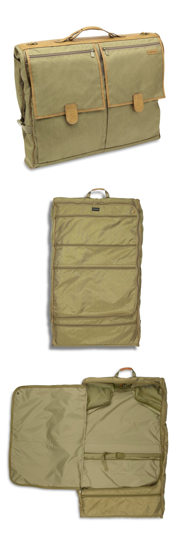 Packcloth Deluxe Garment Bag   Exceptionally lightweight and featuring 12 interior pockets—including a long zip pocket for shoes, three large zip pockets for foldable clothing items, and corner mesh pockets—the Deluxe Garment Bag provides travelers with storage space for at least three suits in its locking hanger trolley and restraining straps under its snap-away packing curtain. http://bit.ly/JZQLEb