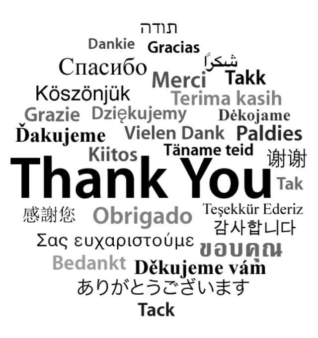 Bedankt in héél veel talen! Leuk om als voorkant van een kaartje te gebruiken.