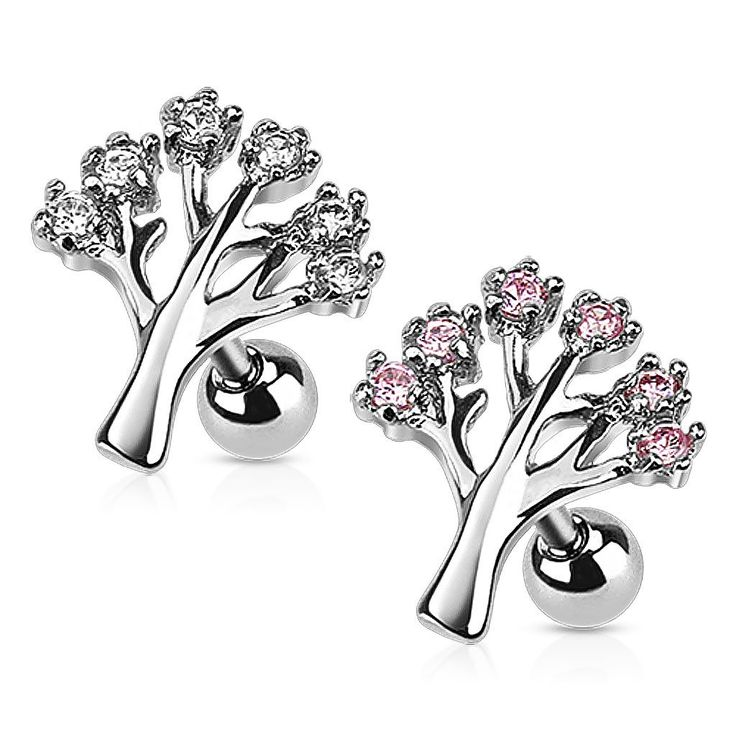 CZ Set Tree Cartilage/Tragus Earring