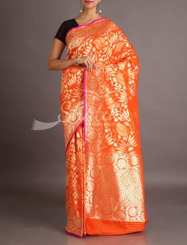 Aadhya Full Bloom Of Silver Lotuses On Burnt Orange Banarasi Brocade Silk Saree
