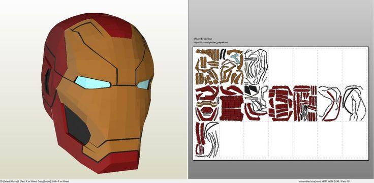 Papercraft .pdo file template for Iron Man - Mark 46 Helmet.