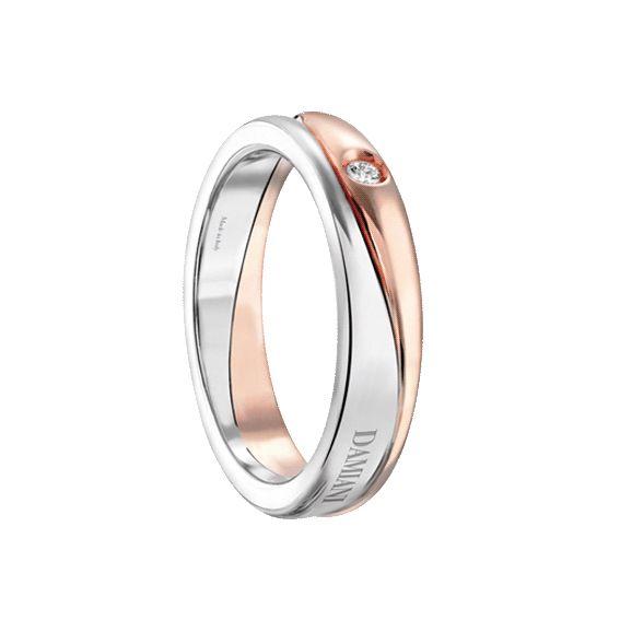 """Fede Nuziale """"Incontro"""" in oro bianco e rosa 18kt con diamante esterno"""