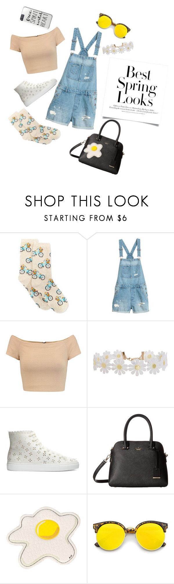 """Best Spring Looks #1"" by elliskhanby on Polyvore featuring HOT SOX, Alice + Olivia, Humble Chic, H&M, Simone Rocha, Kate Spade, Anya Hindmarch and ZeroUV"