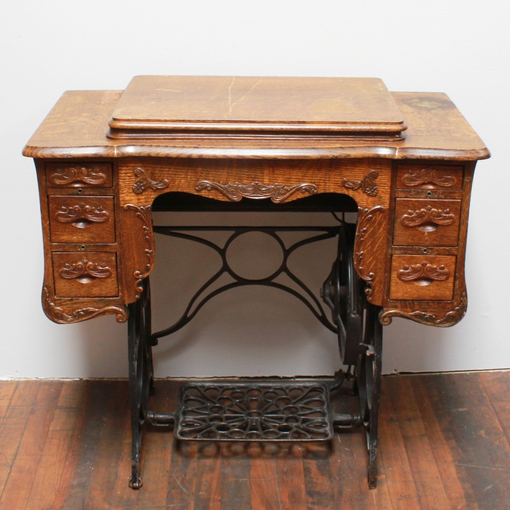 Zim sewing table: Antique oak sewing table with steel base and six pull-out - 102 Best Treadle Sewing Machines Images On Pinterest Antique