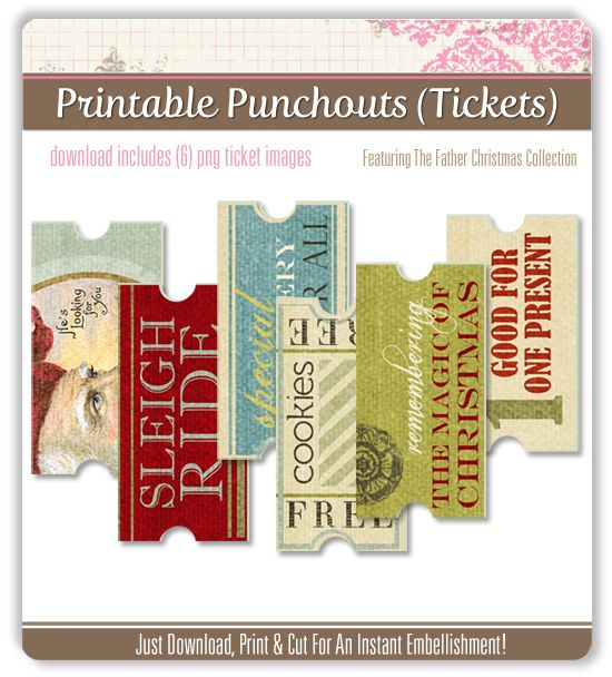 Free download...Digital Tickets for all sorts of fun things...cute gift to stuff in a lovely leather envelope or sweet coin purse or guy's wallet: Coins Purses, Printable Ticket, Downloads Digital Ticket, Free Downloads Digital, Printable Cards Crafts, Digital Freebies, Fun Things, Free Printable, Christmas Printable