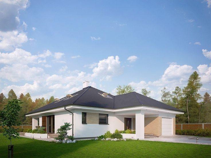 Jednorodzinny budynek mieszkalny, parterowy z użytkowym poddaszem, niepodpiwniczony, przeznaczony dla 4 - 5-osobowej rodziny. Elewacje budynku są utrzymane w nowoczesnej stylistyce. Rozległe tarasy harmonijnie łączą wnętrza domu z ogrodem.