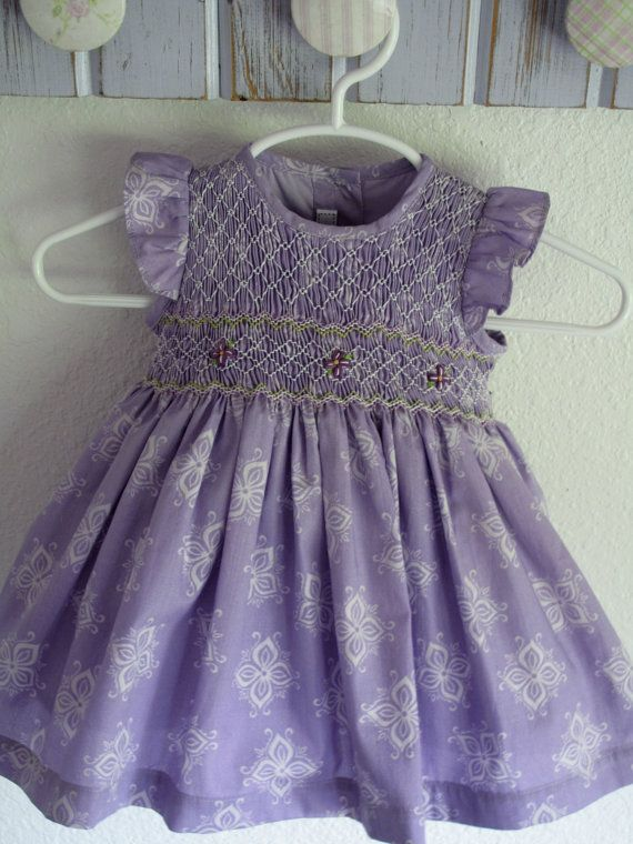 Beautiful hand smoked lavender baby dress Angel wing sleeves