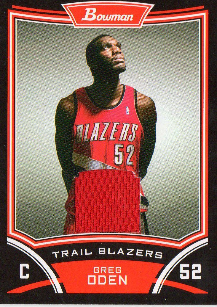 2008 09 bowman draft picks greg oden game worn jersey card portland trail blazer