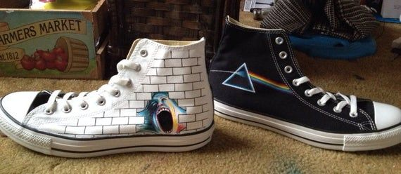 Custom Pink Floyd music themed art work on Converse in 2020