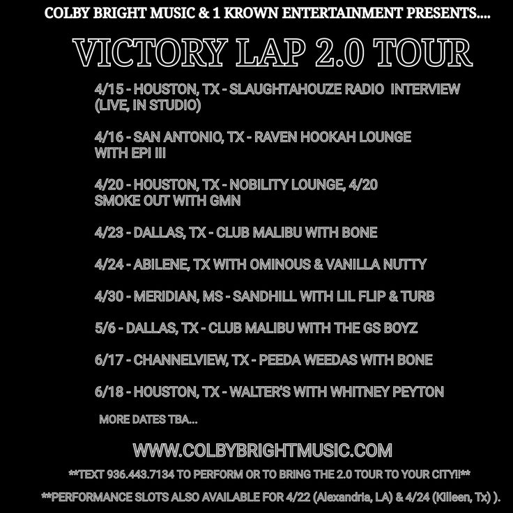 Listed image upload, Texas Hip Hop Artist, Colby Bright releases 2nd leg Dates for his Year-Long '2.0 Tour' on ViExtreme