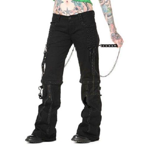Broek met kettingen en ritsen zwart - Gothic Metal
