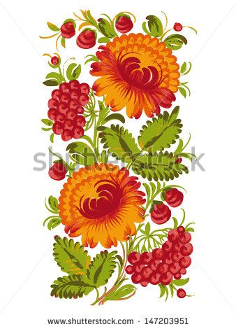 floral decorative ornament, hand drawn, vector, illustration in Ukrainian folk style - stock vector