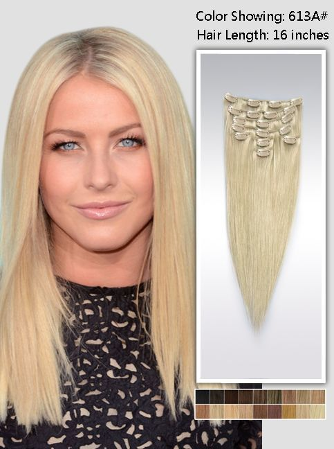 16 Inch Blonde Straight Clip In Hair Extensions Uss613a16 Human