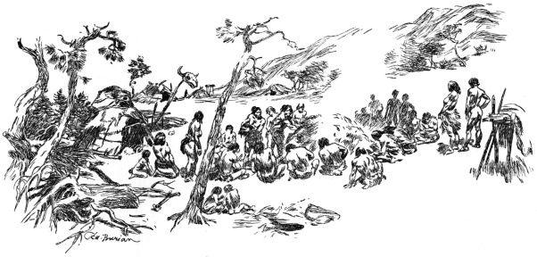 Lovci mamutu. Pohreb Nijany.Tlupa sedici u pohrebiste a vzdavajici hold zesnule. Tretoplanove stromy a taboriste.