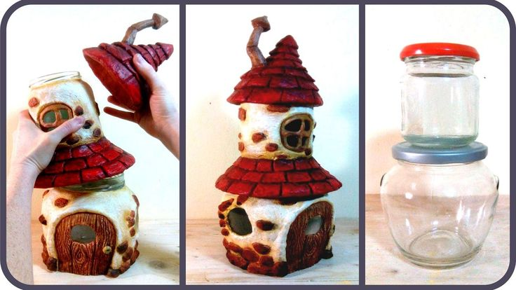 DIY Fairy House with Attic using Two Jars (here is my video on making your own AIR DRY PAPER CLAY https://youtu.be/_Ef-U6aZEoI ) In this video tutorial I sho...