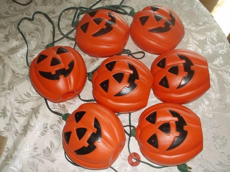 halloween pumpkin string lights pumpkin blowmold inoutdoor light decor 6 vtg - Halloween Pumpkin Lights