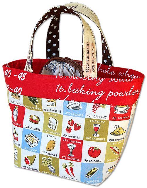 Lunch Bag Tutorial by ayumills, via Flickr sacola dupla de retalhos