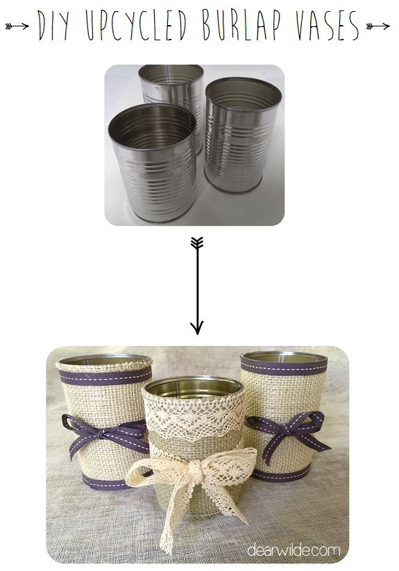DIY Upcycled Burlap Vases
