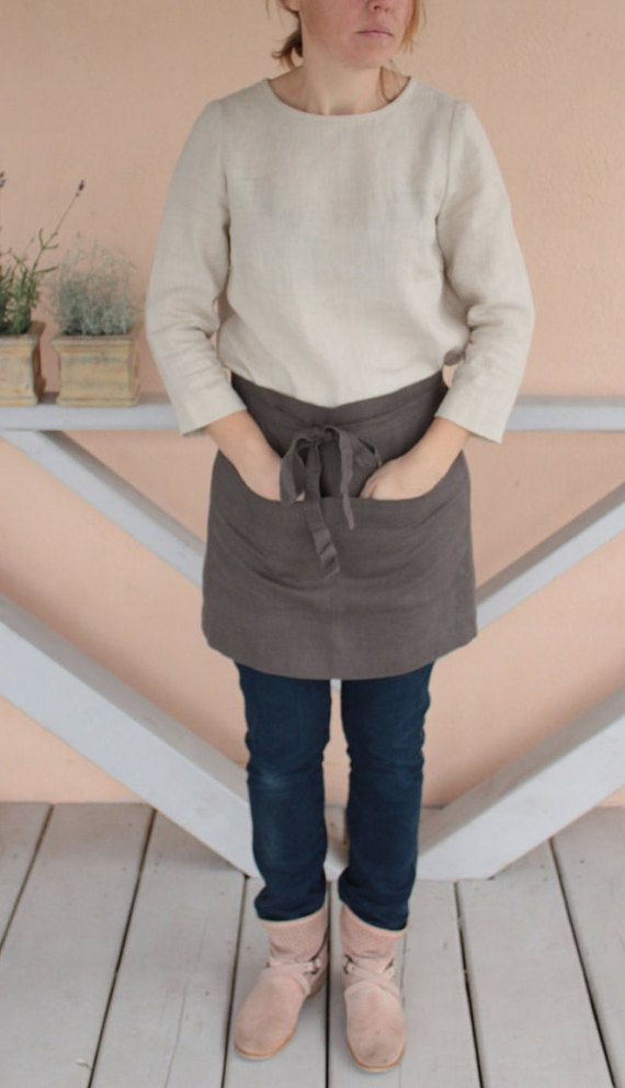Natural linen apron flax linen apron pure flax by OldWallLinen