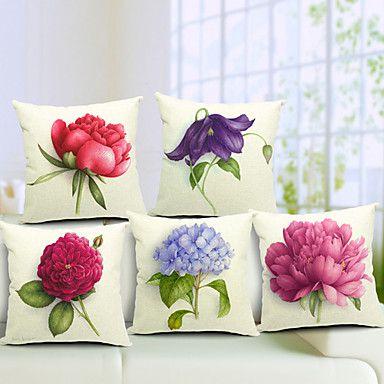Set+di+5+Summer+Flowers+cotone+/+lino+Decorative+copertura+del+cuscino+–+EUR+€+42.74