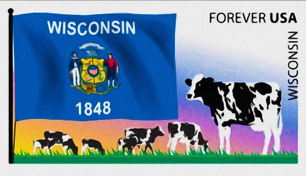 New print available on lanjee-chee.artistwebsites.com! - 'Wisconsin Flag' by Lanjee Chee - http://lanjee-chee.artistwebsites.com/featured/wisconsin-flag-lanjee-chee.html