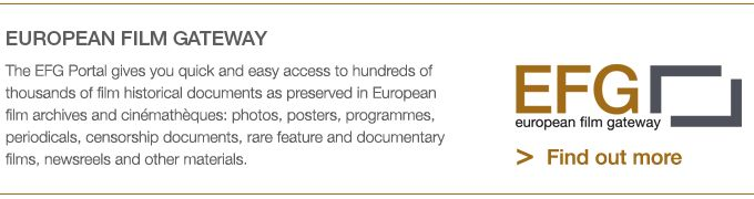 The European film gateway project website (EFG1914) is the portal to access the materials put online as a result of the digitisation project focusing on films and non-film material from and related to the First World War.