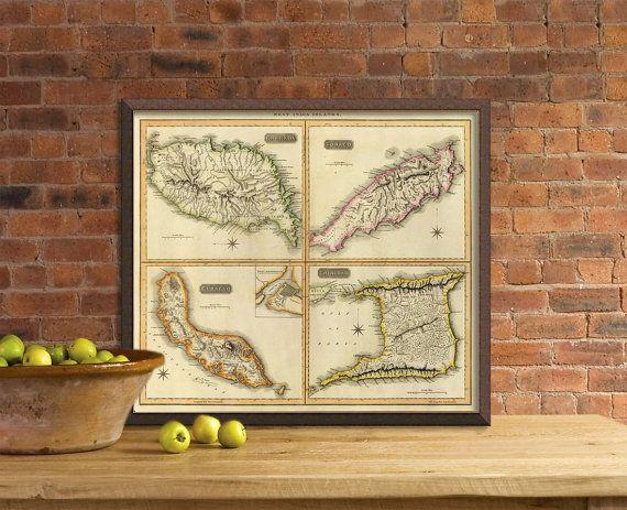 Grenada map  Tobago map  Trinidad map  Curacao map