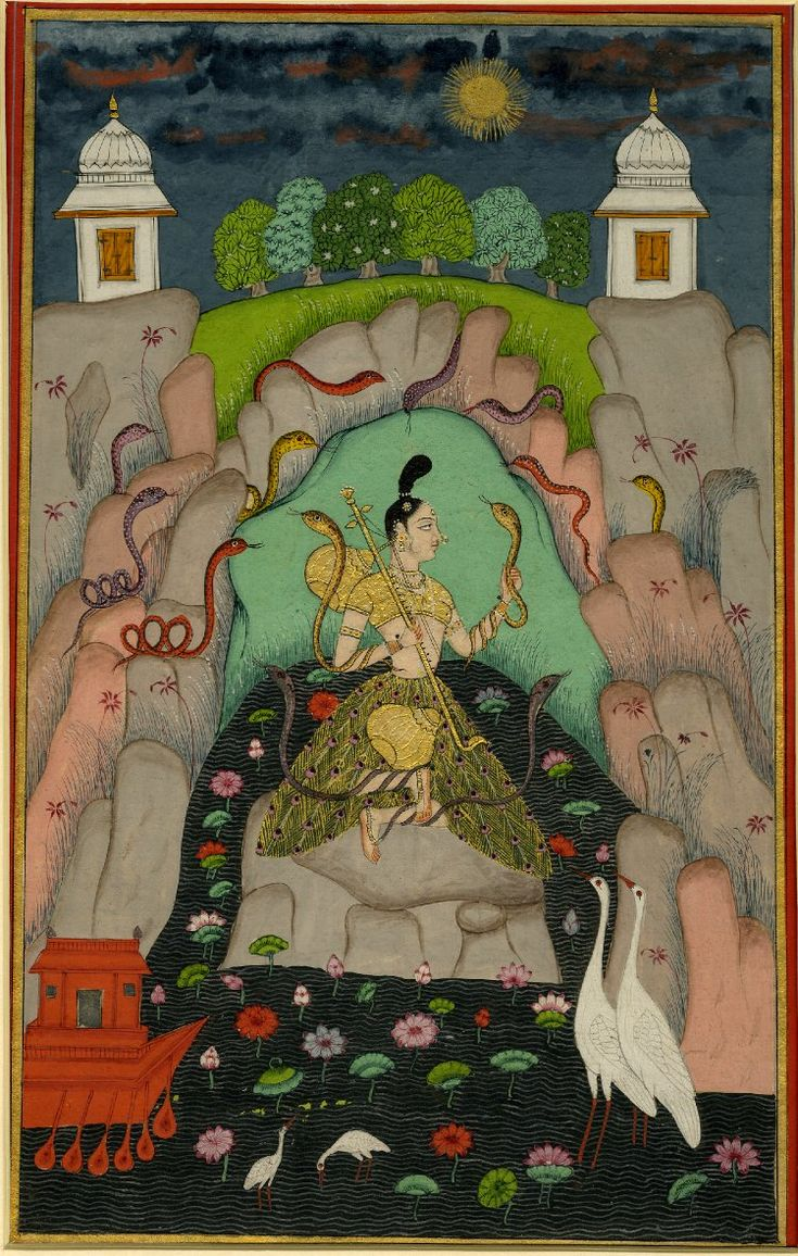Asavari Ragini from a dispersed Ragamala set. A woman surrounded by snakes.       Deccani School.  Date      1740 (circa)