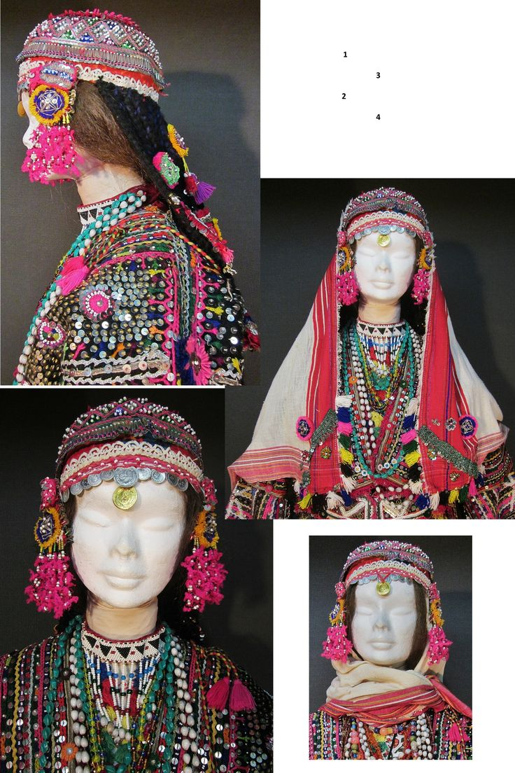 Three ways for 'genç kız' (= not yet betrothed girls) to wear their festive headgear. From the Pomak villages near Biga (Çanakkale prov.), mid-20th c. (Inv.nr. ba$034 - Kavak Costume Collection - Antwerpen/Belgium).