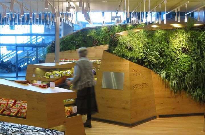 Vertical gardens at Heinemann Duty Free Shop by Snøhetta, Oslo