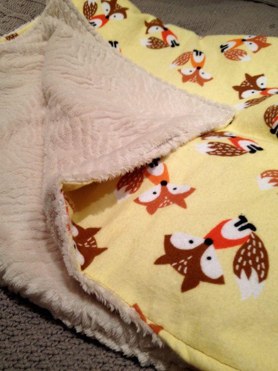 Minky Fox Flannel Baby Blanket by dwelldarling on Etsy, $34.00