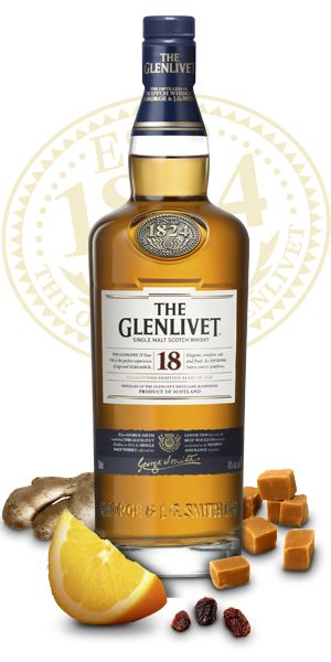 A well known scotch The Glenlivet 18 Year Old is the result of a combination of several different cask types hints of spicy and tropical fruitiness. || The Glenlivet 18 year old single malt