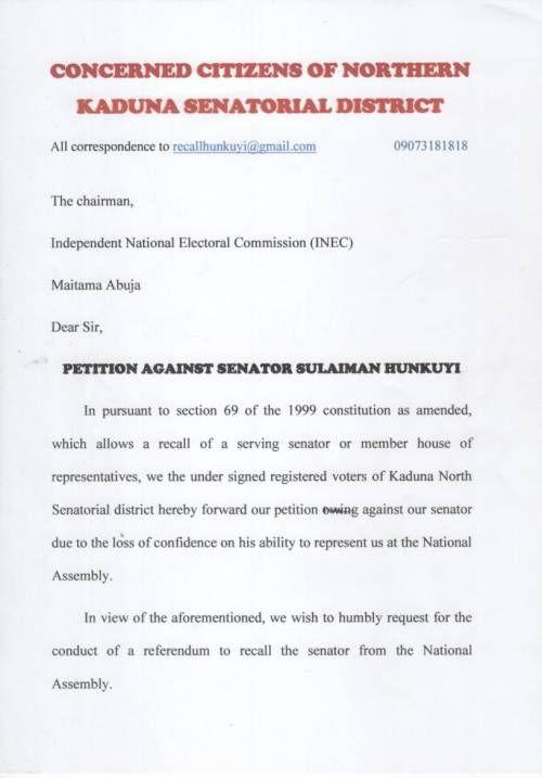 Kaduna North Senatorial District Voters Initiate Moves To Recall Senator Hunkuyi -  Click link to view & comment:  http://www.naijavideonet.com/kaduna-north-senatorial-district-voters-initiate-moves-to-recall-senator-hunkuyi/