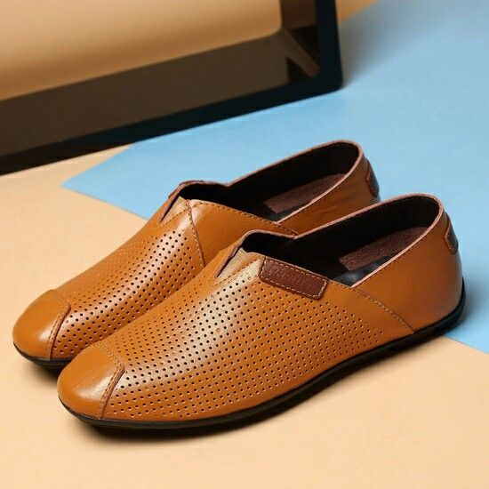 New Summer Mens Loafers Genuine Leather Plus Size Men Driving Shoes High Quality US Soft Hollow Out Big Size 45 46 47
