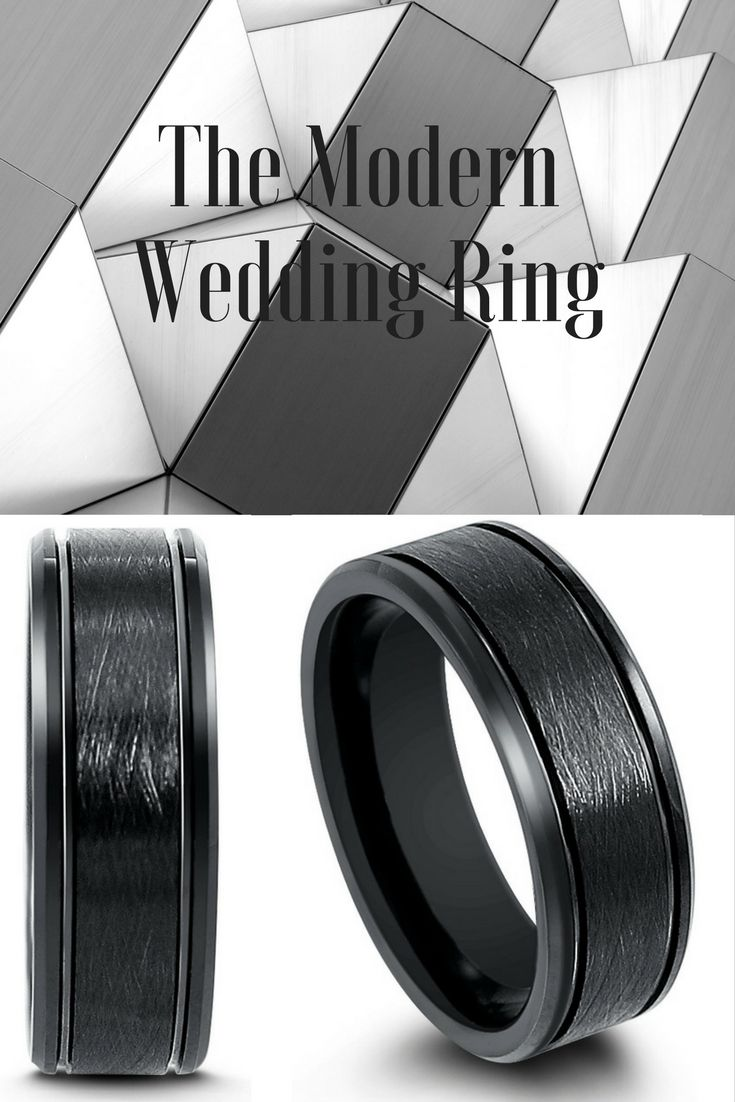 Mens black tungsten wedding ring featuring a brushed textured center, two channel grooves and polished beveled edges. This makes the perfect modern mens wedding ring. I have to get this all black tungsten wedding ring for my husbadn.