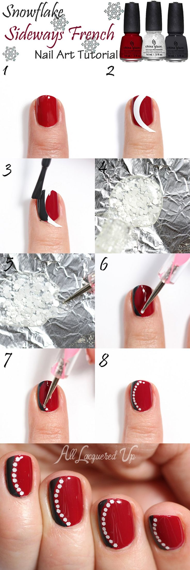 """Snowflake Sideways French Manicure Nail Art Tutorial"" by Michelle Mismas on All Lacquered Up; Polishes used: China Glaze ""Tip Your Hat"", ""Out Like A Light"", ""Chillin With My Snow-mies"""
