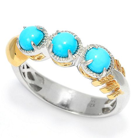 159-649 - Gems en Vogue Sleeping Beauty Turquoise Three-Stone Arrow Ring