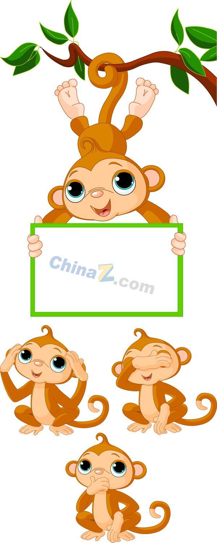 Cartoon monkey image vector material | Vector cartoon