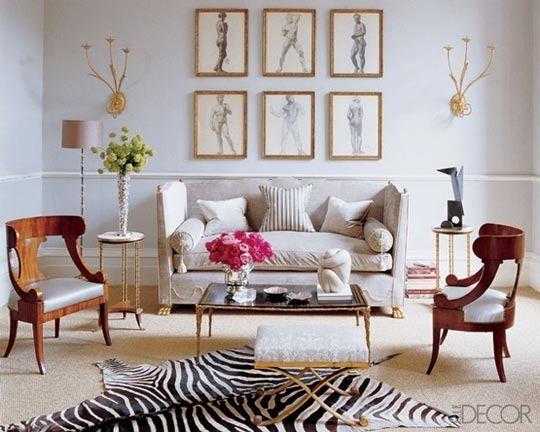 gold w/ pale blueLiving Rooms, Elle Decor, Living Spaces, Alex Papachristidis, Livingroom, Interiors Design, Zebras Rugs, Gallery Wall, Alex O'Loughlin