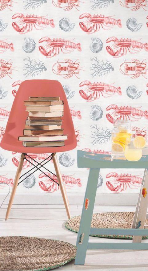 Seafood Story! Zilele de vara petrecute la mare nu trebuie sa ramana o amintire. Descopera cum poti sa aduci aerul marin in interiorul locuintei cu ajutorul tapetului Digital Lobster Taupe! #SomProduct #seafood #story #wallpaper #memories #home #inspiration #taupe #lobster