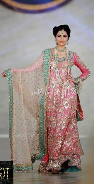 Pakistani bridal couture, pink and green, lengha