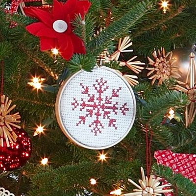"Faux-Sew Ornaments: Purchase a 4"" embroidery hoop from craft stores. Download the reindeer, star, or tree patterns from the magazine to your computer, then print it onto an iron-on transfer paper for dark surfaces. (Follow link for full directions.)"
