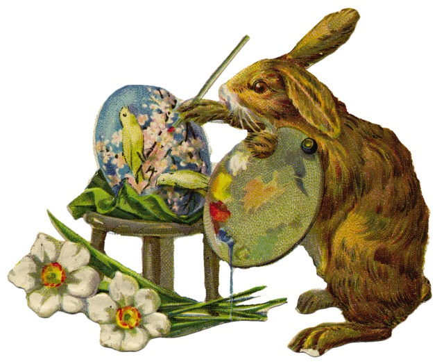 Bunny painting eggs graphic